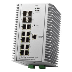 Industrial 10GbE/TX, 4 GbE/SFP Managed Switch JetNet 7014G