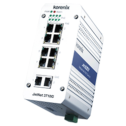 Industrial 8 PoE + 2 GbE Switch JetNet 3710G