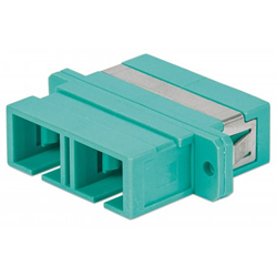 SC OM3 Duplex Through Adapter – Aqua