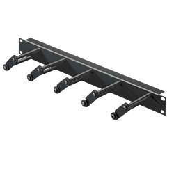 Cable Management Panel 1RU with Routing Bars RAL9005