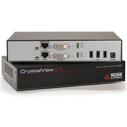 CrystalView EX6 Rack, Dual KVM Extender, 2xDVI, 2xUSB2.0, 1920×1200, CAT5e, 330Ft, 100m
