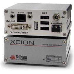 Xcion DVI KVM Extender Kit (TX/RX plus PSU's). MM Fiber, DVI, USB transparent (KB/Mouse/Low-Speed). Multimode Fiber cable distance up to 500 meters