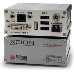 Xcion DVI KVM Extender Kit with USB2.0 memory option (64Mbps). Multimode Fiber cable distance up to 500 meters