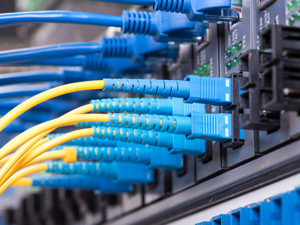 Fibre Optic cables transferring data to server