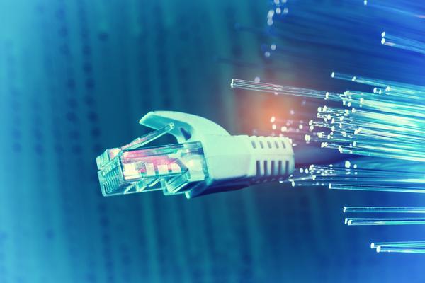 Network cables closeup with fiber