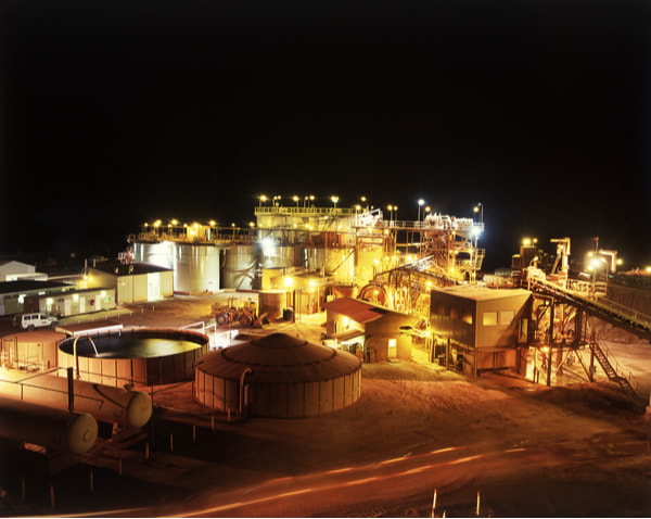 Gold Mine processing plant at night