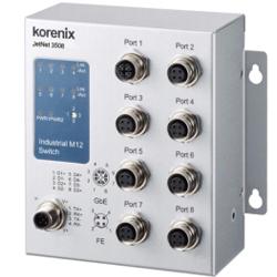 Industial JetNet3508-LVDC Rail Switch 1x Gb 7x FE M12, Unmanaged