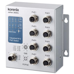 Industial JetNet3808G-M12 Rail Switch 7x FE 1x Gb M12 120Watt PoE Unmanaged