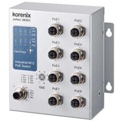 Industial JetNet3908G-M12 Rail Switch 8x Gb M12 180Watt PoE, Unmanaged