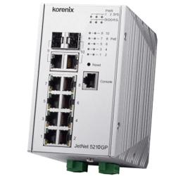 Industrial JetNet5210GP-2C 8x Gb 2x Gb Combo 480 Watts PoE IEE802.3 bt