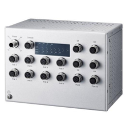 Industrial JetNet7714G-M12 HVDC 8x FE D Code 4x Gb A Code L3 DIN Mount 100 Watts PoE