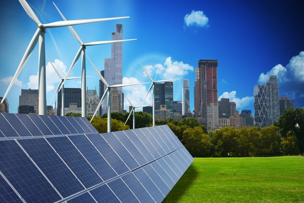OSA - Modern green city powered only by renewable energy sources concept