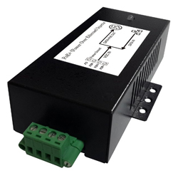 Gigabit PoE Injector with 10 to 15V DC Input, 802.3at Compliant 56V 35W output, and metal enclosure with locking terminal block, -40C~+70C
