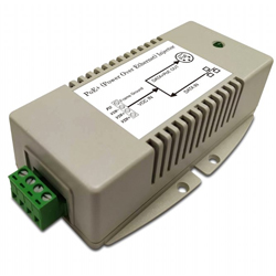 56V/625mA High-power Gigabit PoE Injector with 10 to 15V DC Input, 802.3at Compliant, -40C~+70C